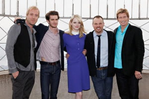 The cast of Spider-Man with Marc Webb