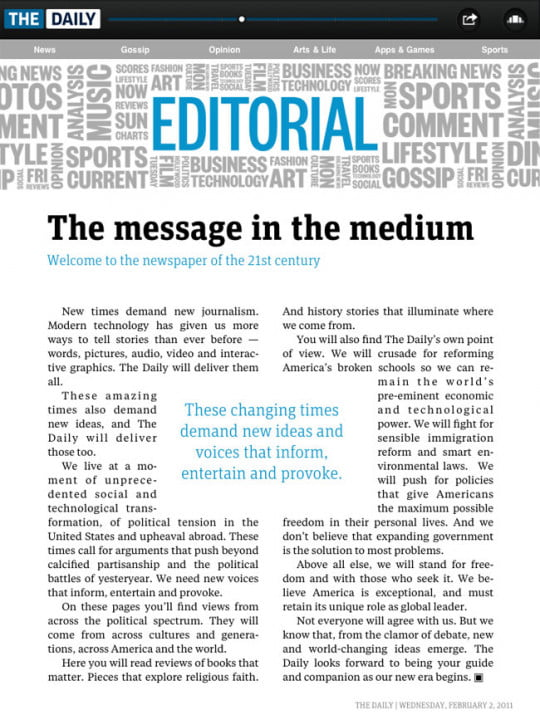 the daily review hands on with first ipad only newspaper  editorial