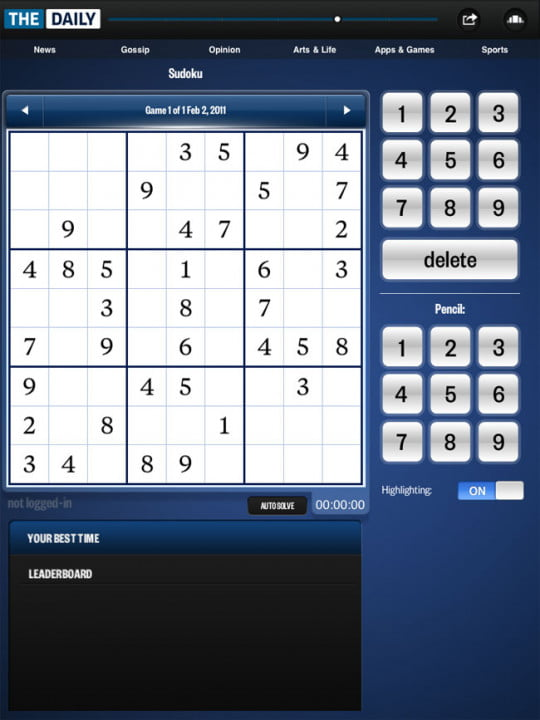 the daily review hands on with first ipad only newspaper  sudoku