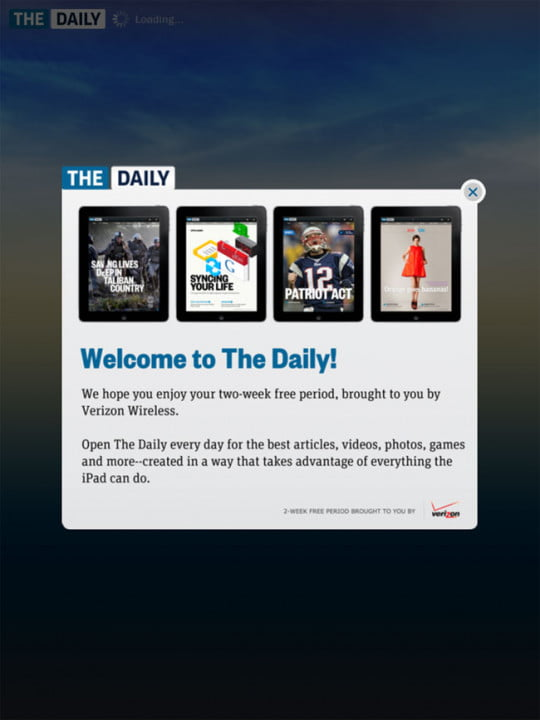 the daily review hands on with first ipad only newspaper  welcome screen