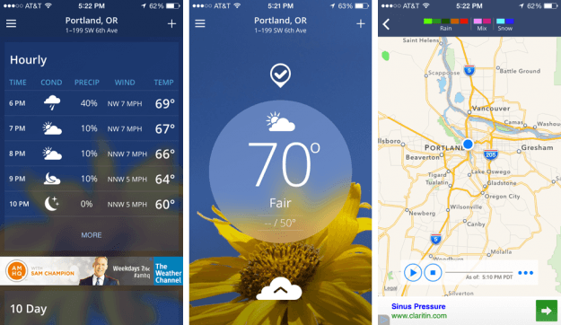 The Weather Channel App Screens