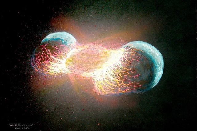 how earths moon was formed theia art  copyright william k hartmann mid