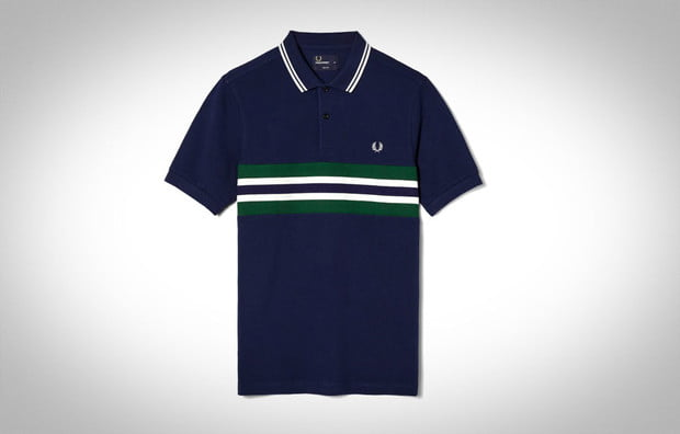 Bomber Stripe Panel Pique Shirt by FRED PERRY