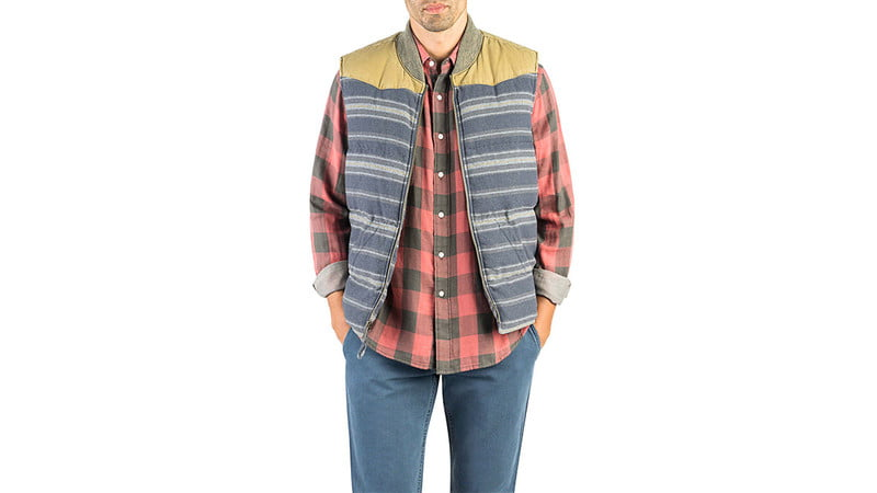 BIG BEND DOWN VEST IN GHURKA/NAVY CANTEEN STRIPE BY STAG X FAHERTY