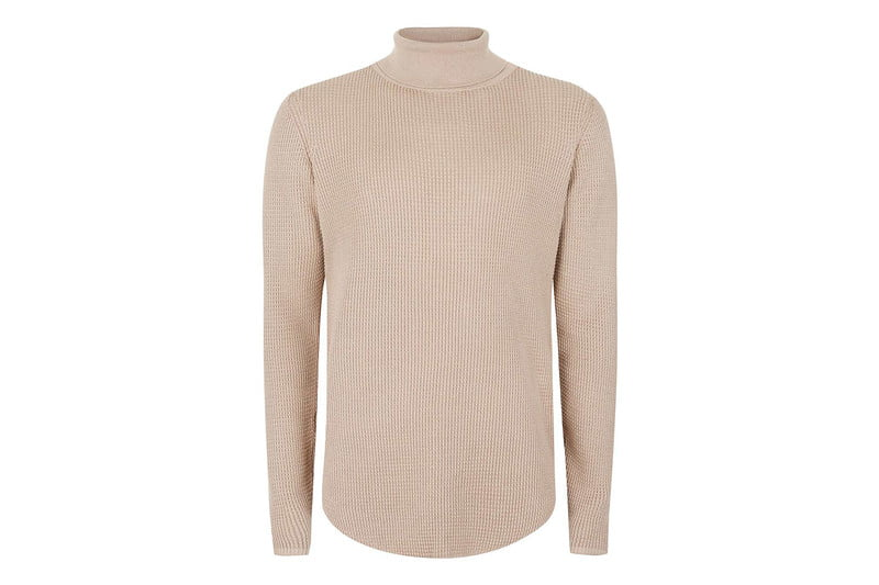 Camel Waffle Textured Turtleneck Sweater by TOPMAN