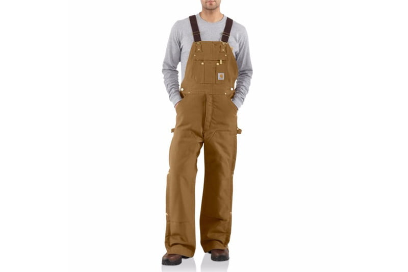 carhartt duck bib zip to thigh overall