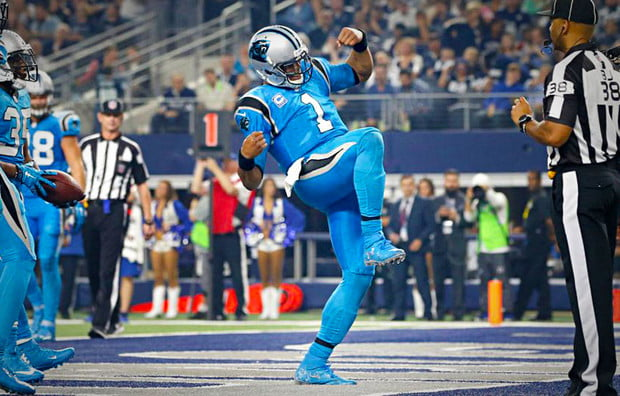 Cam Newton and the Panthers are 11-0 after dabbing on the Cowboys. Tim Heitman