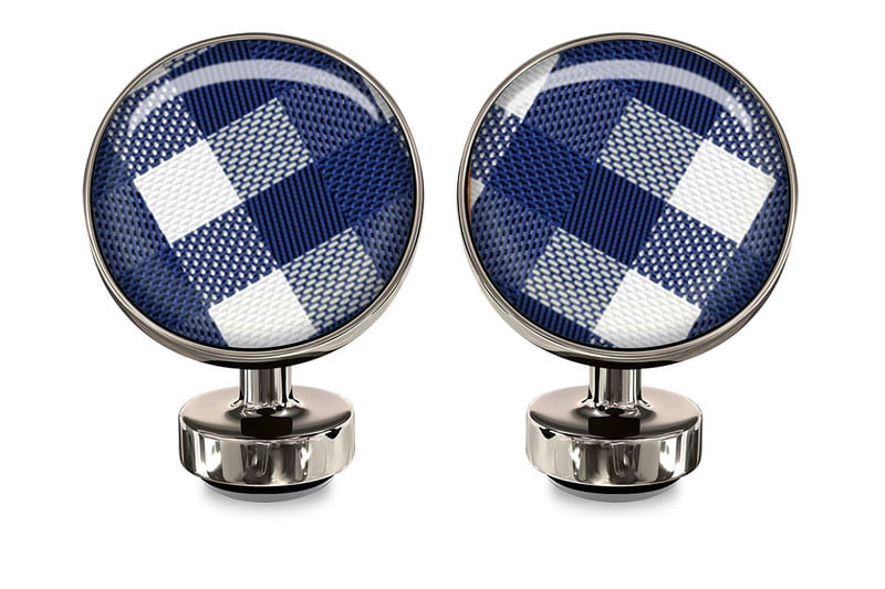 Check Blue Union Cufflinks - $55