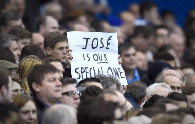 Chelsea fans show their support for recently axed manager, Jose Mourinho. Express Sport