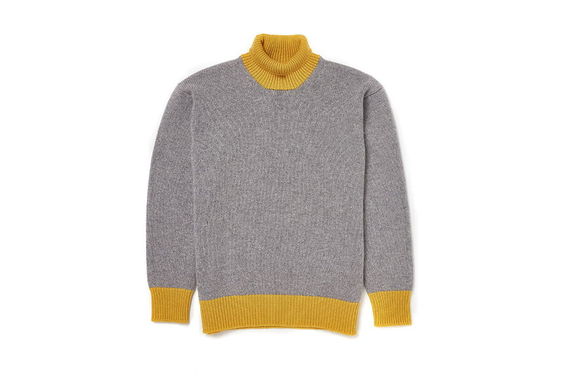 Contrast Colorblocked Yellow/Grey Turtleneck by COUNTRY OF ORIGIN