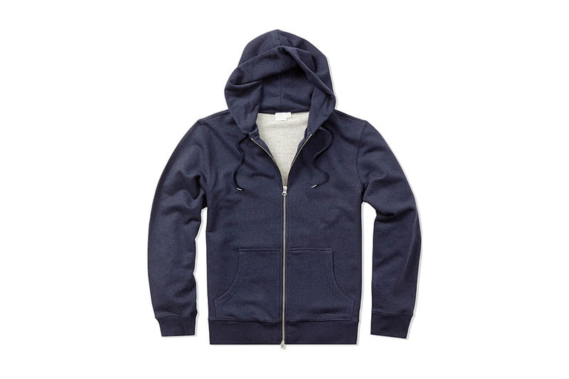 Cotton Loopback Hoodie in Navy Melange by SUNSPEL