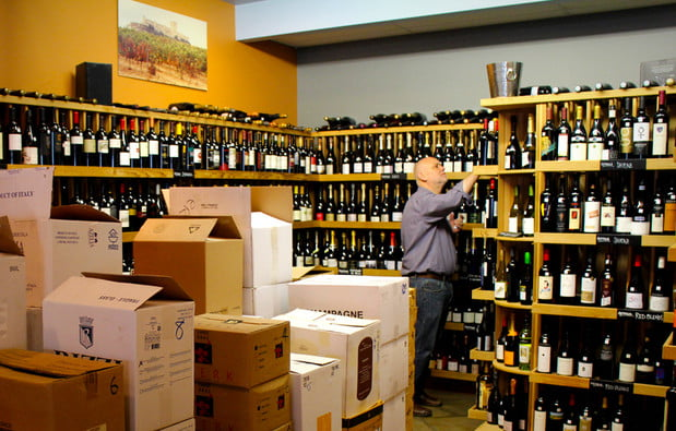 selecting wine bottles