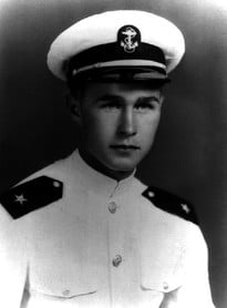 George H.W. Bush as a member of the U.S. Navy during World War II. Handout George H.W. Bush Presidential Library