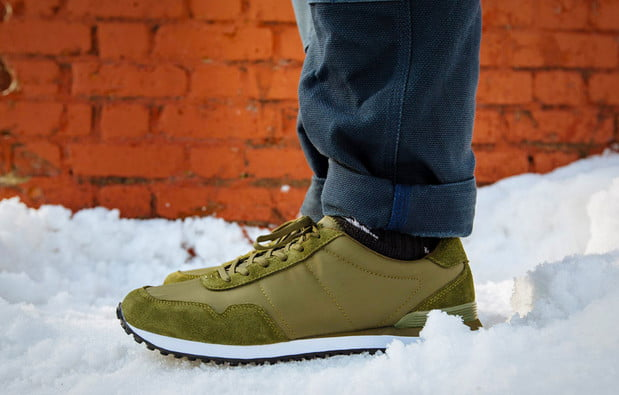snow and olive sneakers