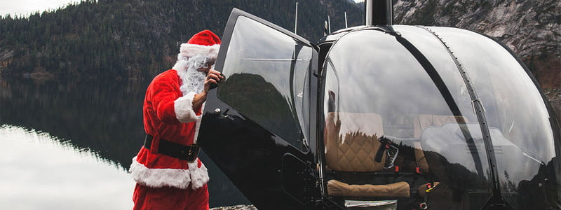 huckberry holiday gift guide, santa in helicopter