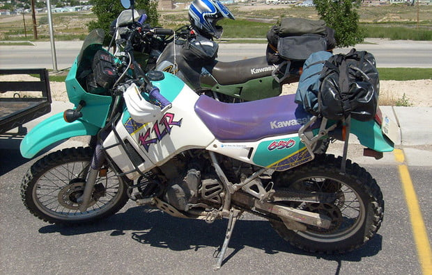 An early KLR 650. Thankfully, these colors are no longer available.