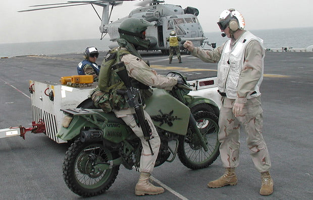 The USMC's version of the KLR has been modified as a diesel!