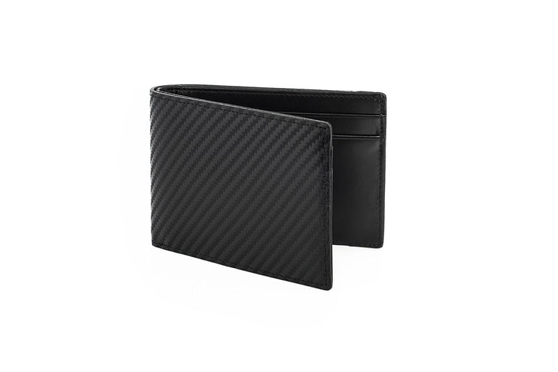 Black Leather Carbon RFID Wallet - $85