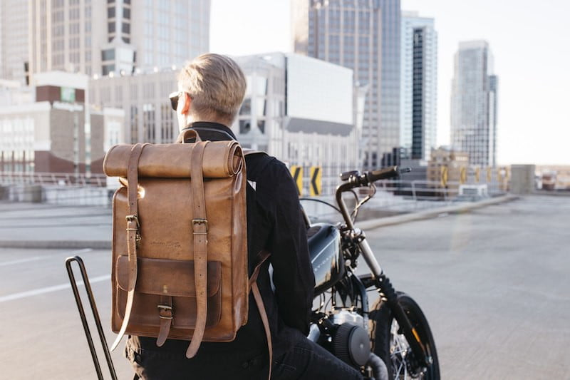 JohnnyFly Leather Rolltop Backpack
