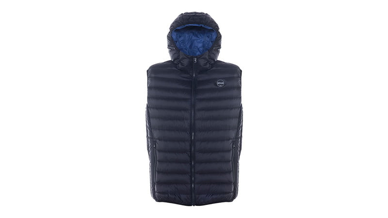 NYLON ULTRA LIGHT DOWN-FILLED SILVERADO VEST WITH HOOD BY SCHOTT NYC