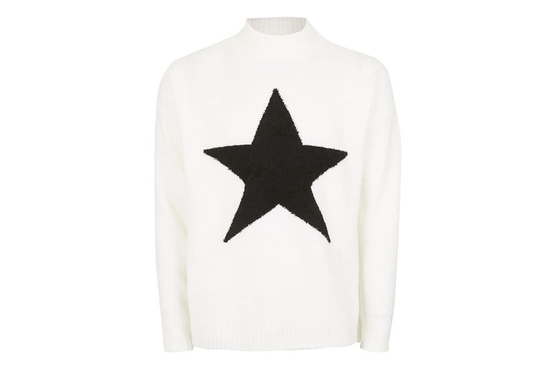 Off-White Embroidered Star Turtleneck Sweater by TOPMAN