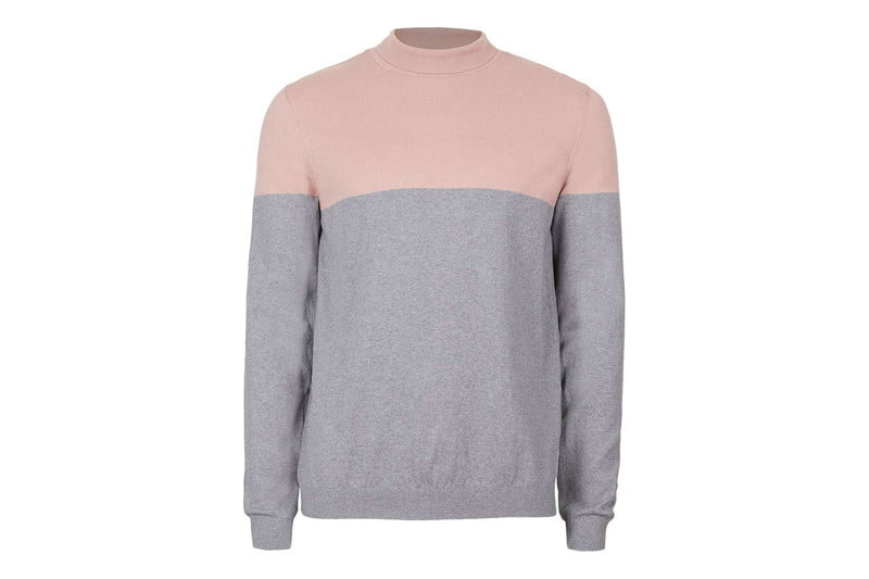 Pink & Grey Colorblocked Mini Turtleneck Sweater by TOPMAN