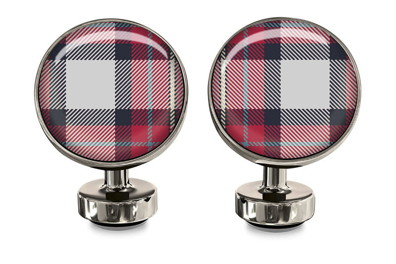 Red Plaid Cufflinks - $55