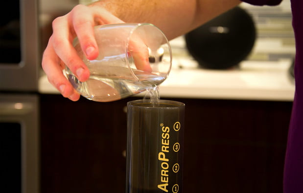 Slowly pour 260 grams (about a cup) of 202 degree water over 46 seconds.