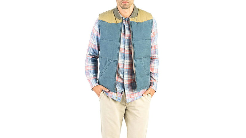WESTERN VEST IN FADED NAVY/KHAKI BY FAHERTY