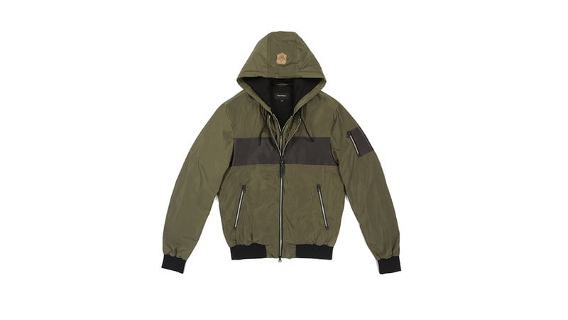 WESTON RAIN JACKET WITH HOOD IN ARMY BY MACKAGE