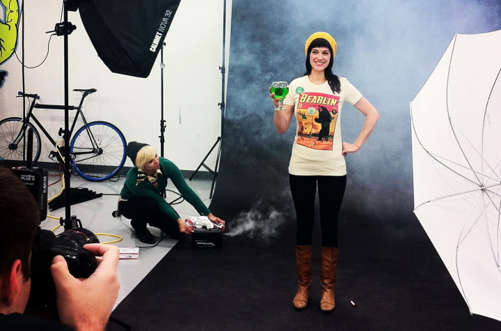 how threadless adds a wink and nod to product photography photoshoot