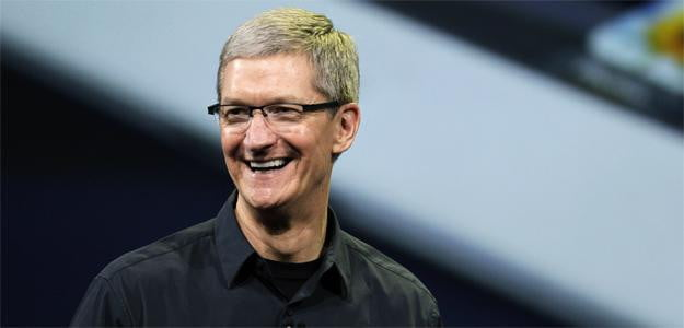 tim cook apple annoucement laughing september 12 iphone 5 unveiling