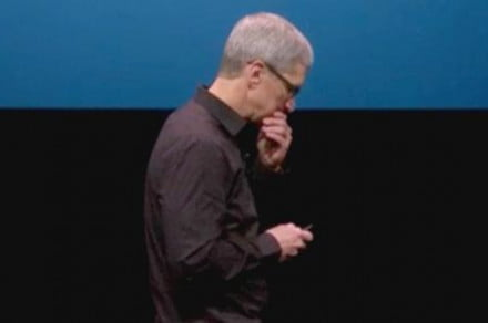 tim cook looking down iphone 5 botched announcement