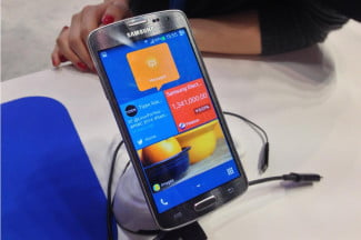 Tizen software running on a prototype phone.