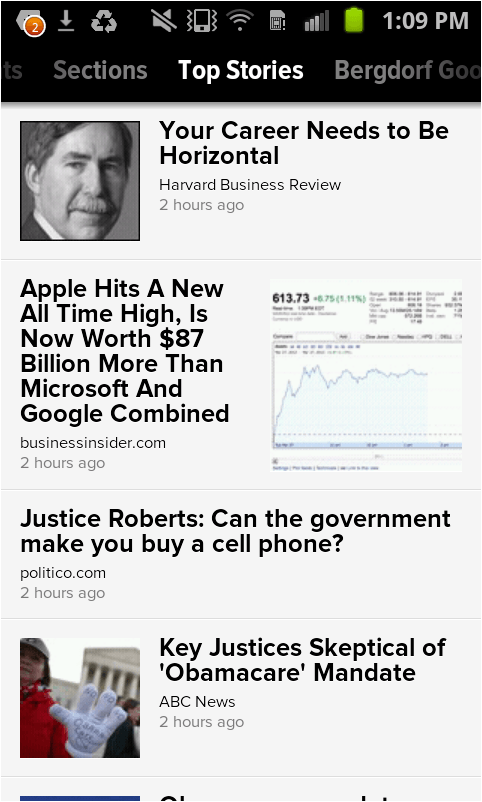 Zite Top Stories page