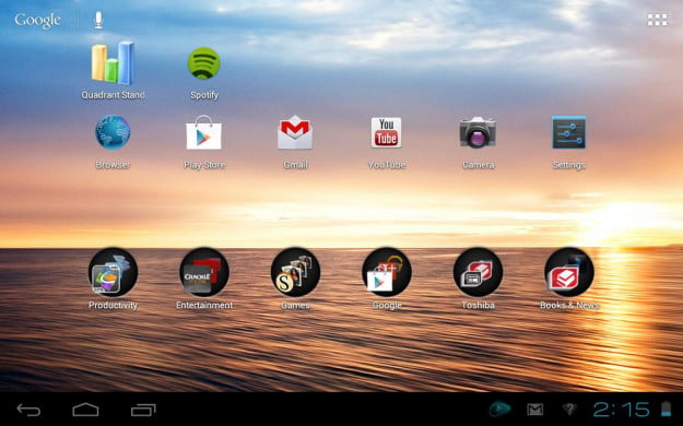 toshiba excite 7 7 review screenshot home apps android 4.0 ice cream tablet