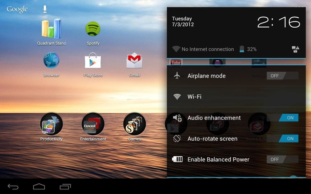 toshiba excite 7 7 review screenshot settings panel drop down menu android 4.0 ice cream tablet