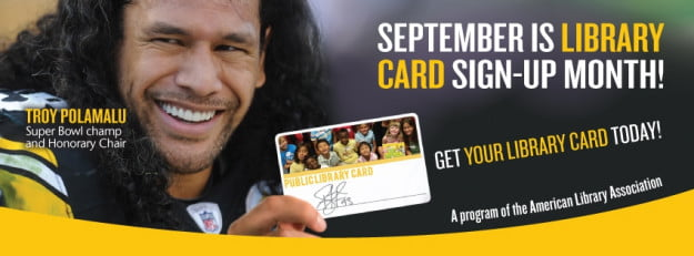 TPolamalu promotional cover photo for library cards