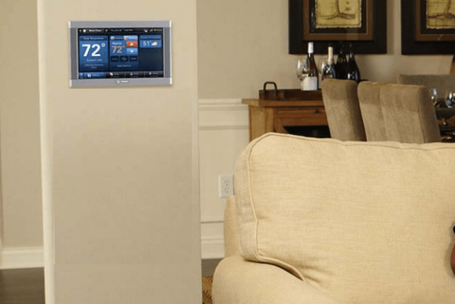 trane smart thermostat and home automation system hub living room