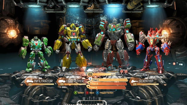 Transformers Fall of Cybertron multiplayer screen