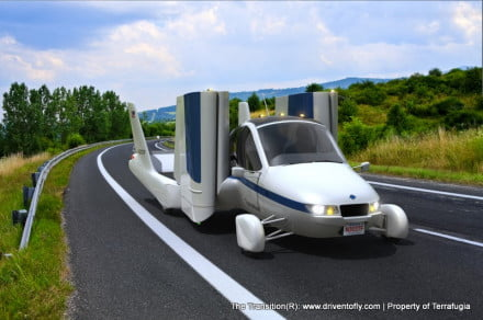 transition flying car driving