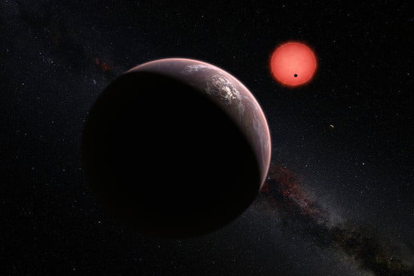 Artist rendition of TRAPPIST-1 and its orbiting planets