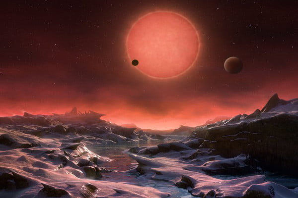 An artist rendition of one of the planets orbiting TRAPPIST-1