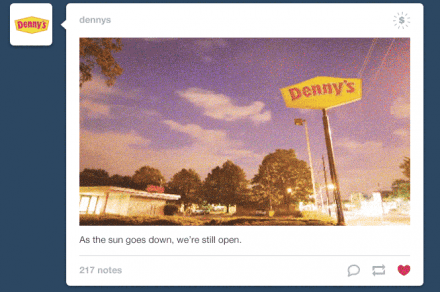 tumblr in stream ads with dennys