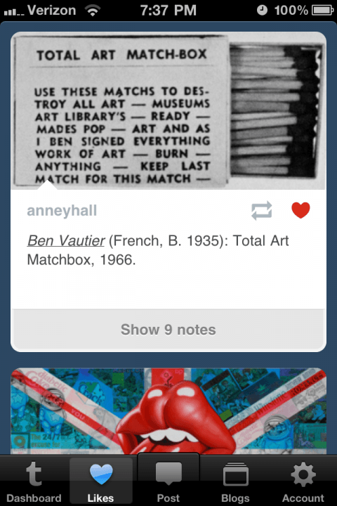 tumblr iphone  app gets it right