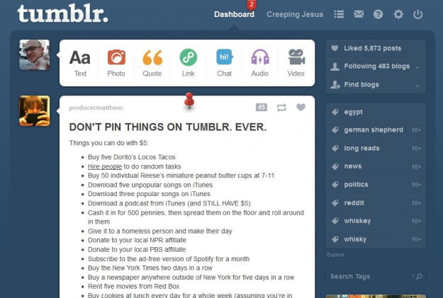 Tumblr Pinned Posts for