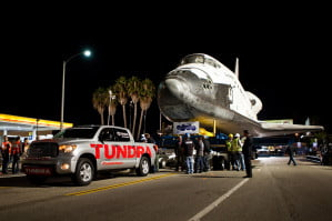 Toyota Tundra tows space shuttle Endeavour