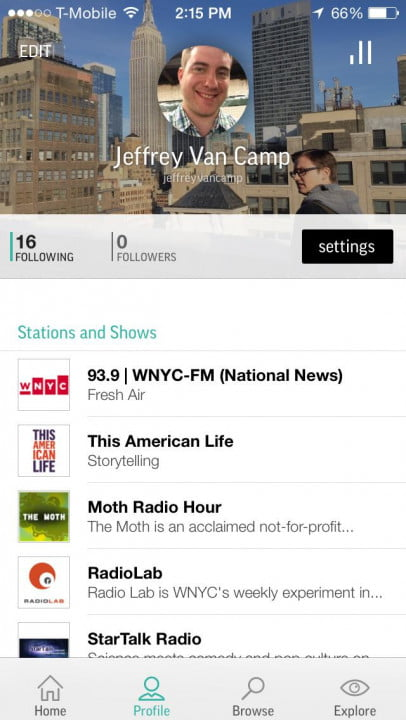 tunein review and interview stations