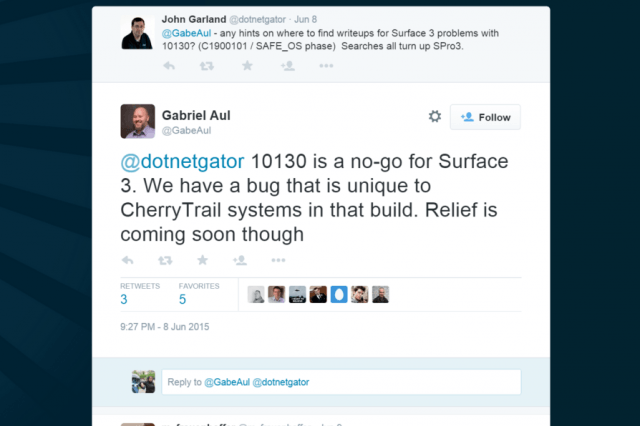 microsoft has confirmed a bug on build  for the surface gabriel aul tweet
