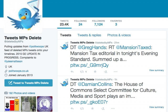 twitter censors organization exposing politicians deleted tweets mps delete